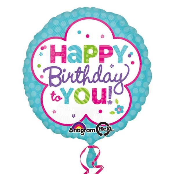Happy Birthday Pink & Teal Balloon